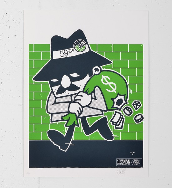123klan_voleur screen print serigraphie graffiti scien klor street art urbain