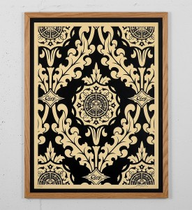 Obey Parlor Pattern Inverse Cream black screen print shepard fairey graffiti street art urbain serigraphie obey giant