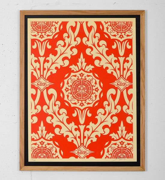 Obey Parlor Pattern Inverse Cream screen print shepard fairey graffiti street art urbain serigraphie obey giant 2-1