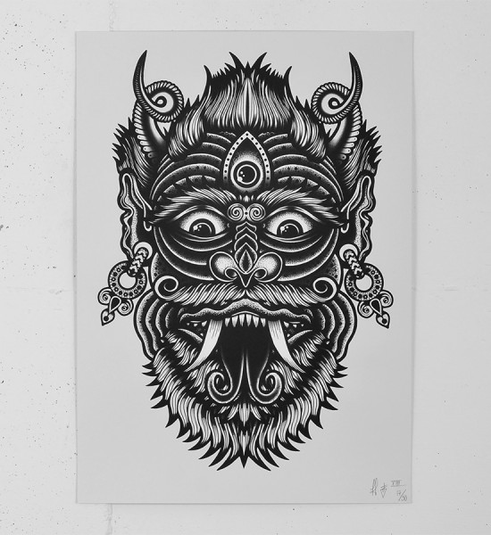 Tom Gilmour Archfiend screen print tattoo skull serigraphie graffiti street art urbain london