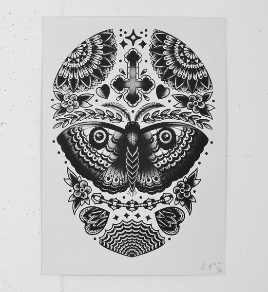 Tom Gilmour balance & gloom screen print tattoo skull serigraphie graffiti street art urbain london