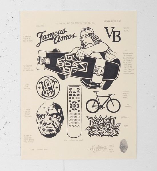 mike giant famous amos draw tattoo dessin rebel8 original artwork print pencil illustration