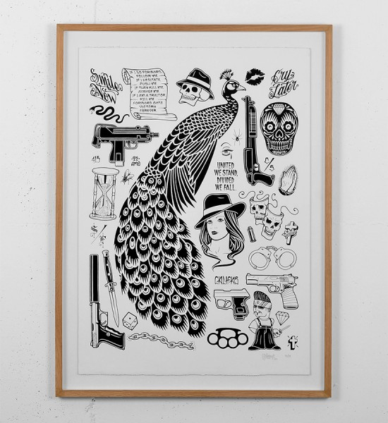 mike giant unknown screen print giantone tattoo rebel8 original artwork pencil serigraphie illustration