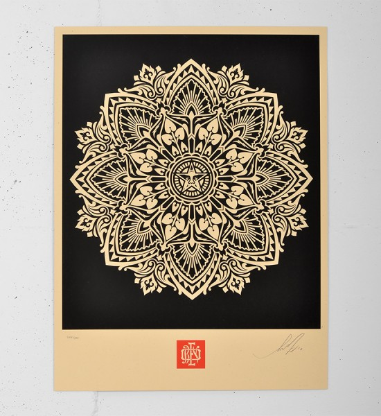 obey mandala ornament 2 black screen print shepard fairey serigraphie graffiti street art urbain 1