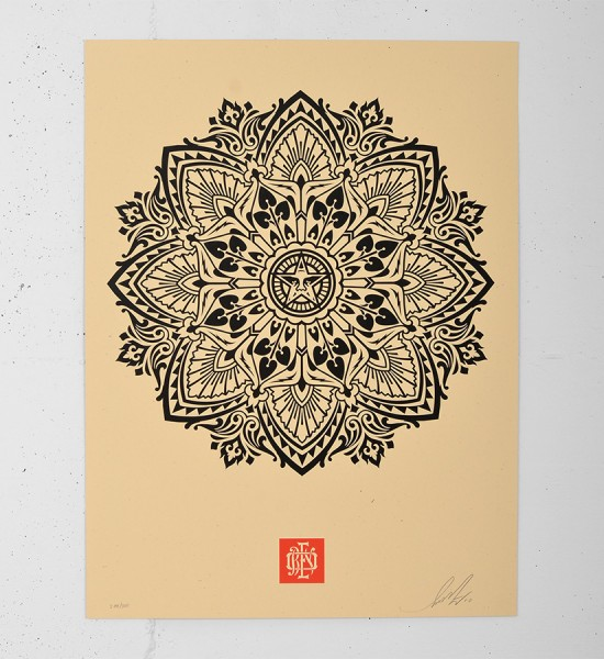 obey mandala ornament 2 cream screen print shepard fairey serigraphie graffiti street art urbain 1