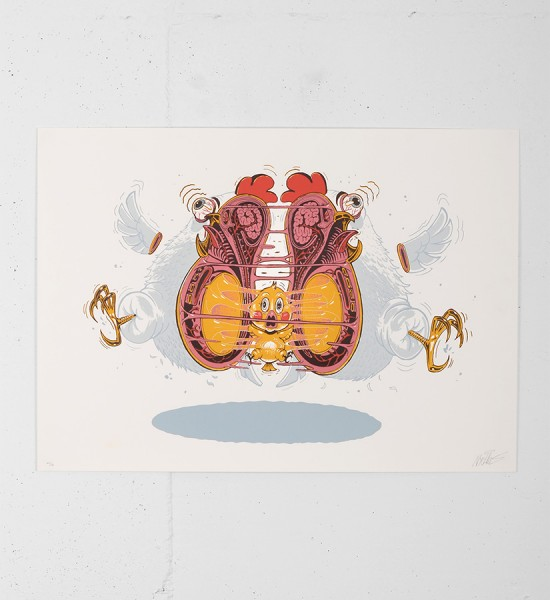 nychos chicken dance screen print serigraphie graffiti street art urbain Rabbit Eye Movement the weird