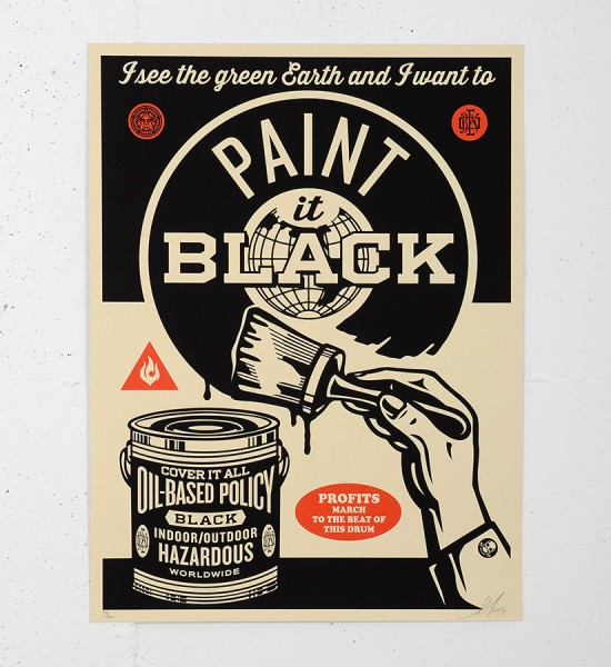 Obey_shepard_fairey_serigraphie_screen print_PAINT_IT_BLACK_BRUSH_one_shot_sign_painting graffiti street art urbain soldart sold art galerie online gallery