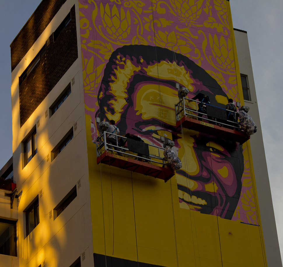 Shepard Fairey Obey The Purple Shall Govern Johannesburg mural street art urbain graffiti Photos Derek Smith 3