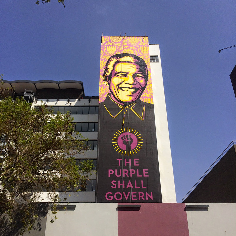 Shepard Fairey Obey The Purple Shall Govern Johannesburg mural street art urbain graffiti Photos Derek Smith 4