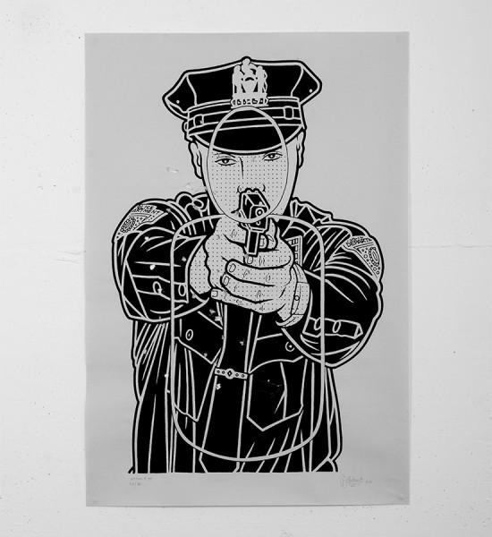 mike_giant_cop killer print rebel 8 giantone tattoo rebel8 serigraphie illustration tatoo police target shoot