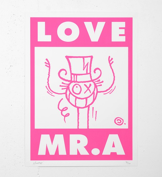 Andre_Saraiva_love mr A monsieurA_mrA_serigraphie_screen print_rose_pink_street art urbain graffiti sold art soldart gallery