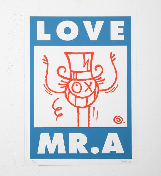 Andre_saraiva_screen print serigraphie_blue_red_art_le baron paris monsieurA_mrA_monsieur A Mr A sold art galerie soldart gallery