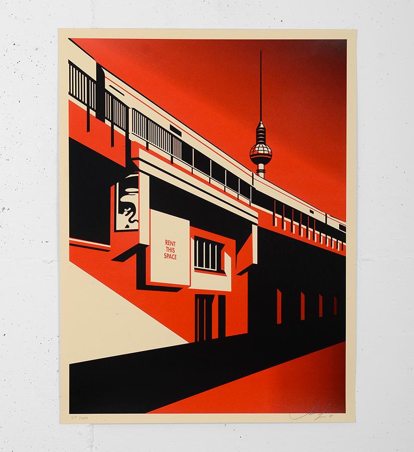 shepard fairey obey berlin tower screen print. Black Bedroom Furniture Sets. Home Design Ideas