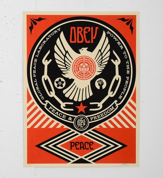 Obey_shepard_fairey_serigraphie_print_PEACE_FREEDOM_DOVE graffiti street art urbain serigraphie obey giant soldart.com sold art galerie art urbain online street art gallery