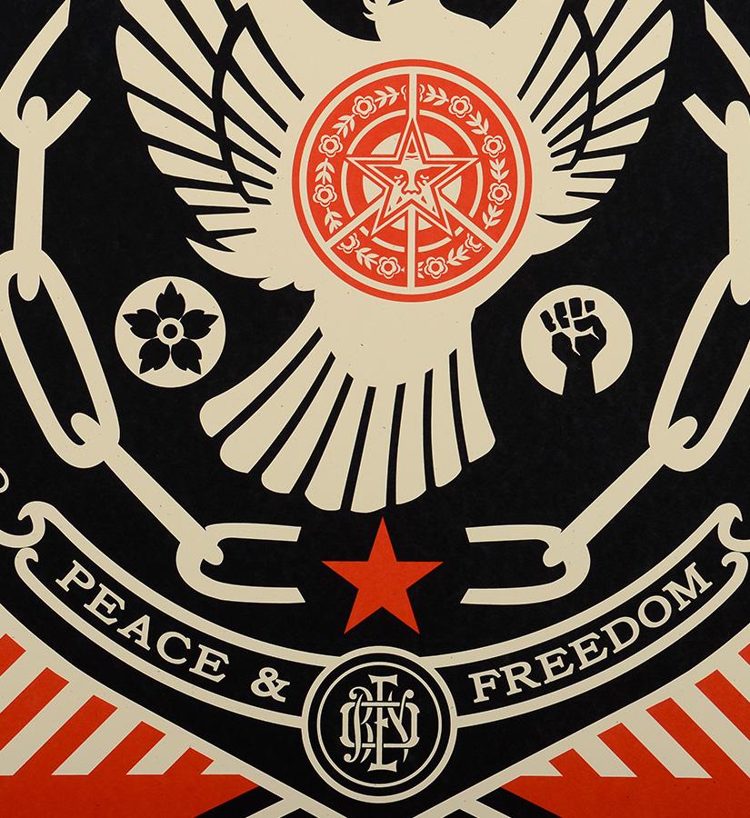 shepard fairey obey peace freedom dove screen print. Black Bedroom Furniture Sets. Home Design Ideas