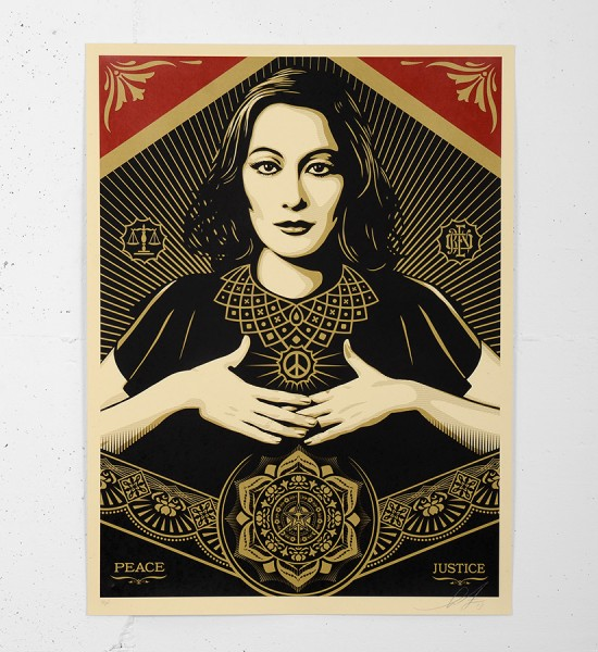 Obey_shepard_fairey_serigraphie_print_PEACE_JUSTICE_WOMAN graffiti street art urbain serigraphie obey giant soldart.com sold art galerie art urbain online street art gallery