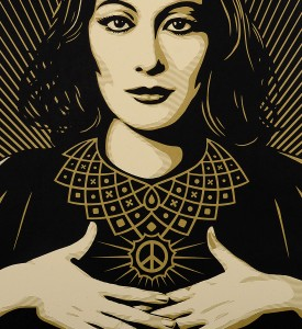 Obey_shepard_fairey_serigraphie_print_PEACE_JUSTICE_WOMAN_graffiti street art urbain serigraphie obey giant soldart.com sold art galerie art urbain online street art gallery 4