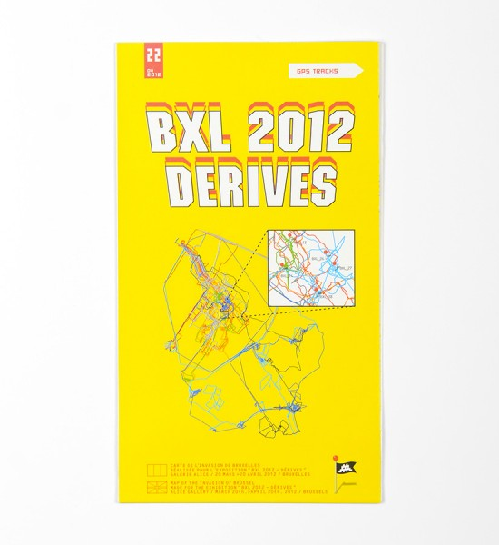 "Entitled ""BXL 2012 Derives"", this map by Invader was made in 2012. Format : 18,8 x 16,5 inches (48 x 42 cm)."