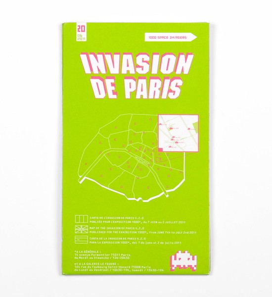 "Entitled ""Invasion de Paris"" (1000 Space Invaders), this map by Invader was made in 2011. Format : 37,5 x 24,6 inches (95,5 x 62,5 cm)."