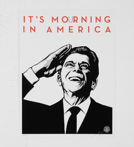 Obey_shepard_fairey_ITS MOURNING IN AMERICA obey giant serigraphie screenprint soldart.com buy sell art acheter vendre oeuvre art galerie art en ligne online street art gallery