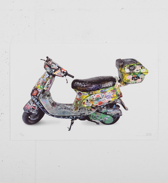 invader-scooter lithography print-hoca-foundation-HK-art-street art-sell buy-art-acheter vendre art-space invader-exhibition soldart.com sold art galerie art urbain online art gallery