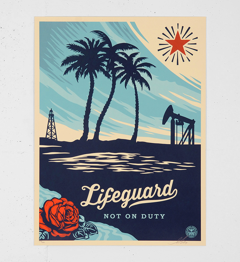 Shepard fairey obey lifeguard not on duty screen print for Sell art prints online