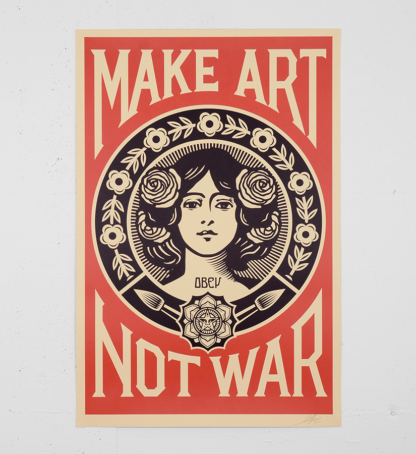 Shepard fairey obey make art not war offset print for Buy street art online