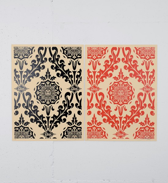obey-shepard-fairey-parlor pattern cream set serigraphie screenprint soldart.com buy sell art acheter vendre oeuvre art galerie art en ligne online street art gallery
