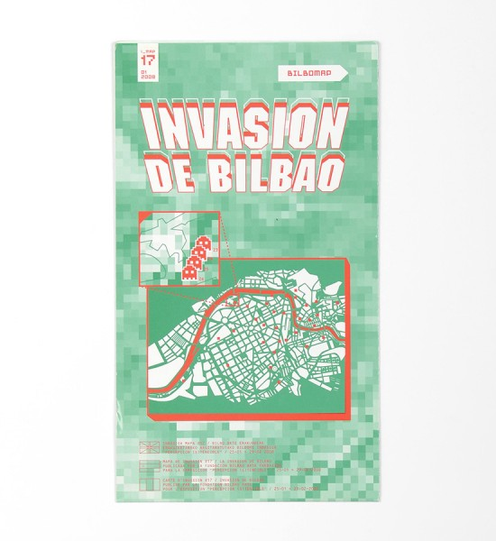 "Entitled ""Invasion de Bilbao"", this map by Invader was made in 2008. Format : 23,4 x 16,5 inches (59,5 x 42 cm)."
