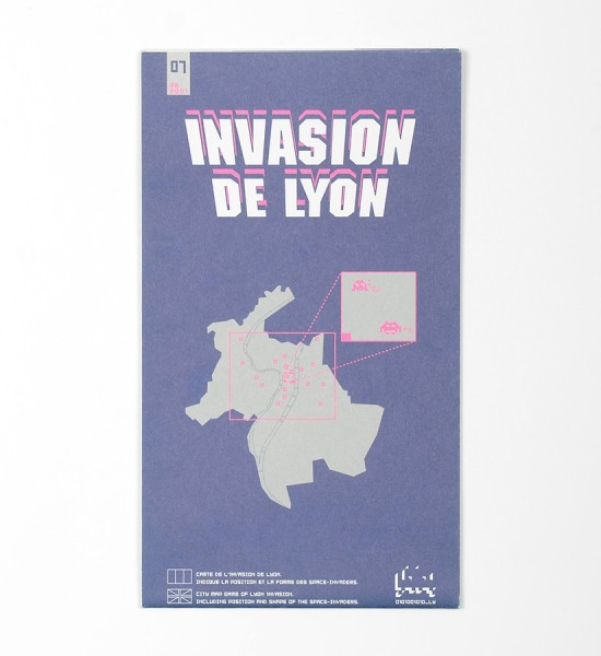 "Entitled ""Invasion de Lyon"", this map by Invader was made in 2001. Format : 18,7 x 16,5 inches (47,5 x 42 cm)."
