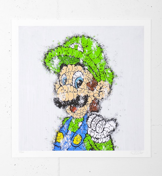 "Entitled ""Luigi"", this giclee print by Tilt is an edition of 100 + 15 artist's proof. Made in august 2012, it is signed and numbered 100/100 by the artist. Format : 17 x 17 inches (43 x 43 cm). The work is sold unframed."