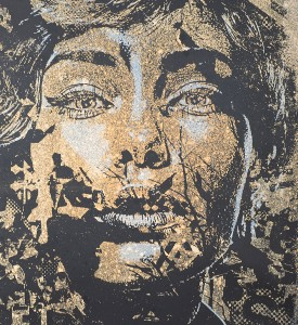 Vhils Alexandre Farto Tenuous enhanced screen print artwork serigraphie rehaussee oeuvre art detail 1