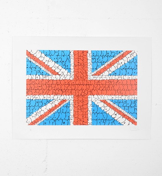 Tilt-anarchy in the uk-flag-pow-pictures-on-walls-screen print-serigraphie-signed-numbered