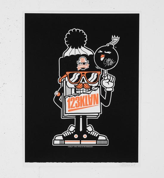 123klan-scien-klor-MISTER CARD MASCOT POSTER montreal-graffiti-screen print silkscreen soldart.com buy sell art acheter vendre oeuvre art sold art galerie art urbain en ligne online street art gallery