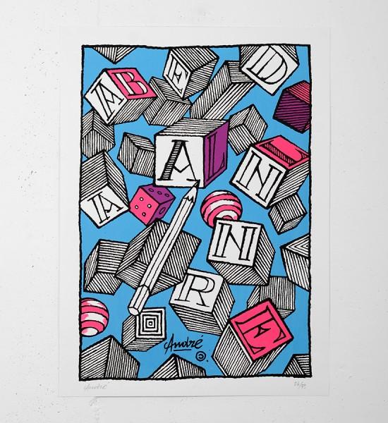 Andre_Saraiva_andre et anabelle_screen print_serigraphie_art_pink_blue_violet_le baron paris_monsieur A Mr A sold art urbain galerie soldart