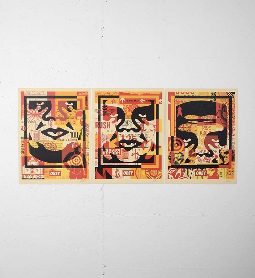 Shepard fairey obey obey 3 face collage set artworks for Buy street art online
