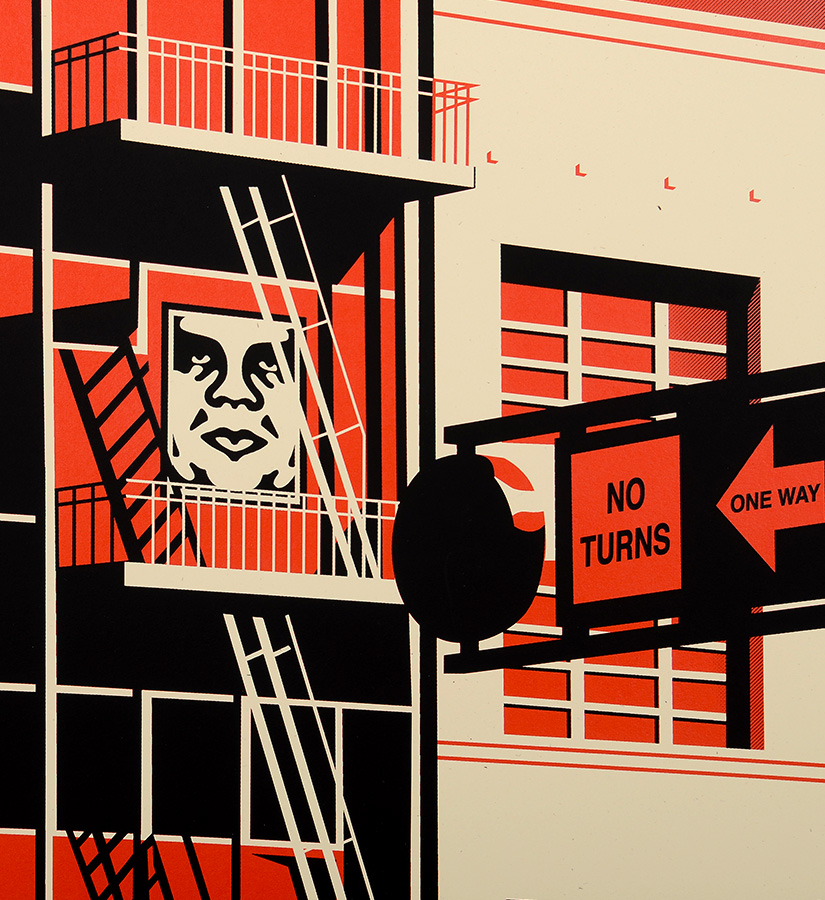 Shepard fairey obey sf fire escape print screen print for Buy street art online