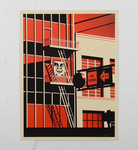 Obey_shepard_fairey_serigraphie_print_SF-FIRE-ESCAPE-PRINT obey giant screenprint soldart.com buy sell art acheter vendre oeuvre art galerie art en ligne online street art gallery