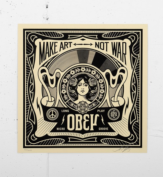 Obey_shepard_fairey_print_poster-serigraphie-make-art-not-war-cover-obey giant serigraphie screen print soldart.com buy sell art acheter vendre oeuvre art galerie art en ligne online street art gallery