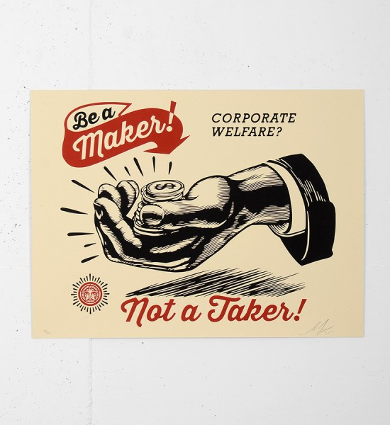 Shepard-Fairey-Corporate-Welfare-Print-Obey-Giant-Be-A-Maker-Poster-obey giant serigraphie screenprint soldart com online street art gallery