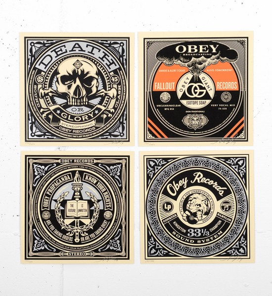 Shepard Fairey Obey 50 shades of black set 4 screen print serigraphie