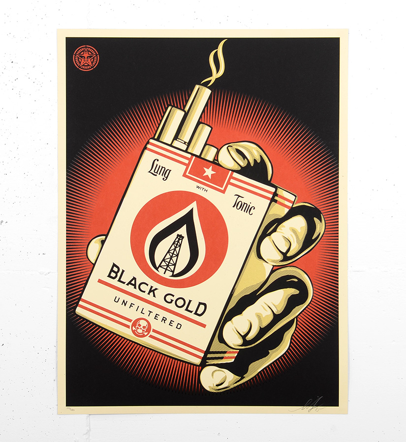 Shepard fairey obey black gold screen print edition for Sell art prints online