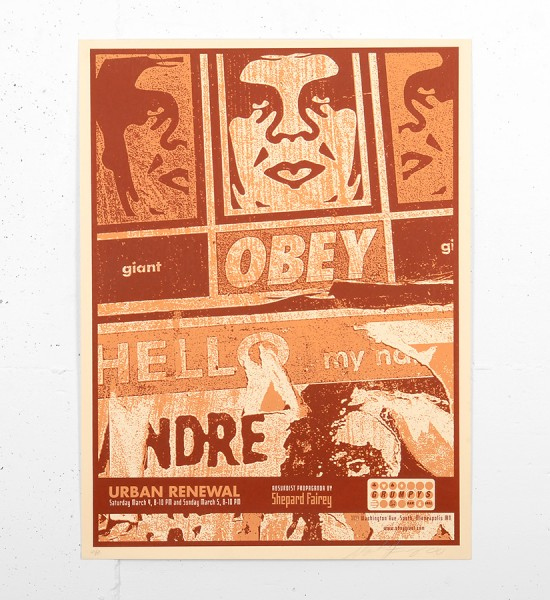 Shepard Fairey Obey Hello scuzz grumpy screen print serigraphie