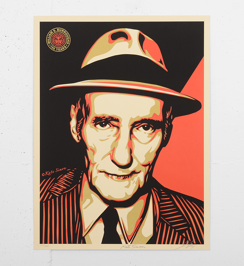 Shepard fairey obey burroughs 100 years screen print for Sell art prints online