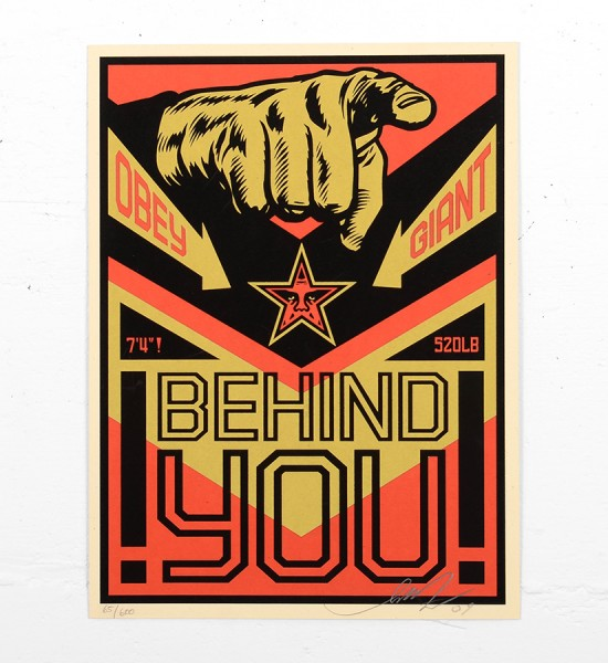Shepard Fairey Obey behind you 2009 screen print serigraphie