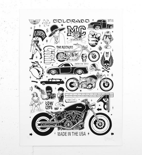 Mike Giant Low life screen print artwork serigraphie oeuvre d art illustration rebel8 giantone_5