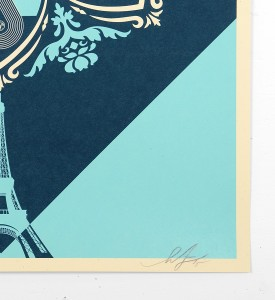 Shepard Fairey obey giant screen print A delicate balance serigraphie oeuvre artwork Earth Crisis cop21 eiffel tower paris_3