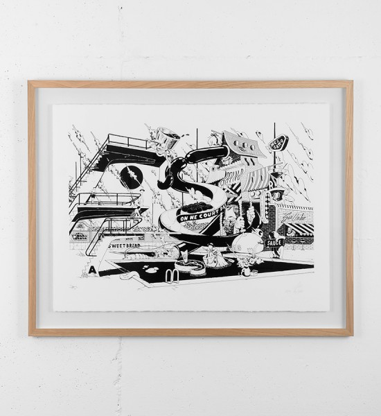 ugo-gattoni-mcbess-sweetbread-lithography-oeuvre-illustration-fine-art-print-collaboration-edition-sold-art-gallery-artwork-framed