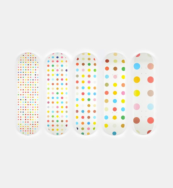 "Entitled ""Diethylene Glycol"", this 5 skateboard decks by Damien Hirst for Supreme are made in 2009. They are signed in the plate by the artist. Format (by skateboard) : 31,1 x 7,6 inches (79 x 19,5 cm). They are sold in there original box."