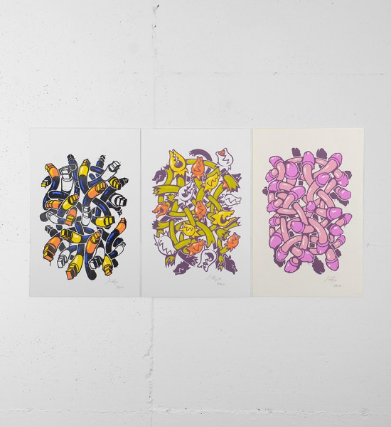 """Entitled """"Magic tools"""", """"Stay high"""", """"Emancipation"""" this screen prints by Mist are an edition of 20. Made in 2008, they are signed and numbered by the artist. Format : 19,68 x 12,79 inches (50 x 32,5 cm). The works are sold unframed."""